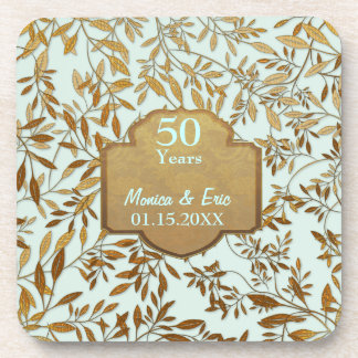 Leaves of Gold 50th Wedding Anniversary Beverage Coaster