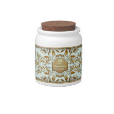 Leaves Of Gold 50th Wedding Anniversary Candy Jars at Zazzle