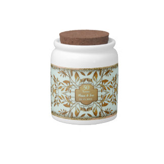 Leaves of Gold 50th Wedding Anniversary Candy Jars
