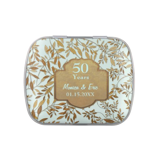leaves of gold 50th wedding anniversary tins zazzle