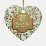 Leaves of Gold 50th Wedding Anniversary Ceramic Ornament