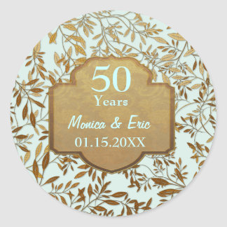 Leaves of Gold 50th Wedding Anniversary Classic Round Sticker