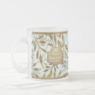 Leaves of Gold 50th Wedding Anniversary Frosted Glass Coffee Mug