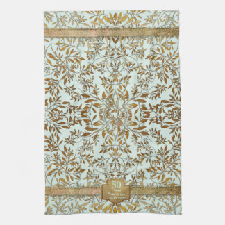 Leaves of Gold 50th Wedding Anniversary Hand Towels