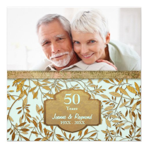 Leaves of Gold 50th Wedding Anniversary Announcement