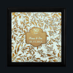 "Leaves of Gold 50th Wedding Anniversary Jewelry Box<br><div class=""desc"">Lovely 50th Golden Wedding Anniversary design on pastel mint aqua background with an overlay of elegant gold leaves. Matching gold banner and custom text areas ready for you to personalize. You can change the background to white or another color by clicking the customize link. This design is available on other...</div>"