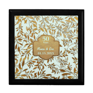Leaves of Gold 50th Wedding Anniversary Jewelry Box