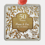 Leaves of Gold 50th Wedding Anniversary Christmas Ornaments