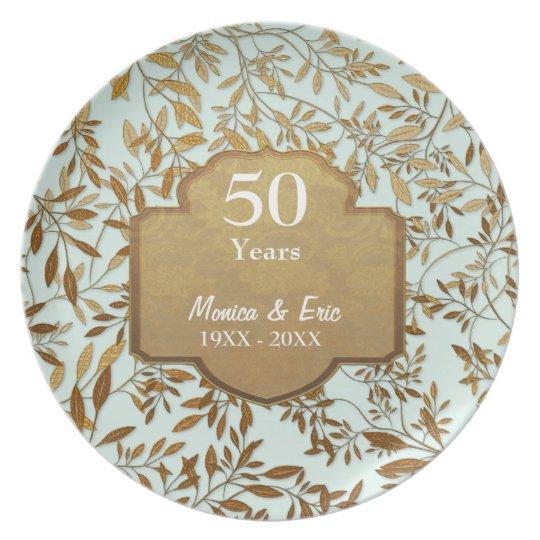 50th Wedding Anniversary Gift Etiquette: Leaves Of Gold 50th Wedding Anniversary Plate