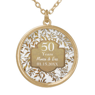 Leaves of Gold 50th Wedding Anniversary Round Pendant Necklace