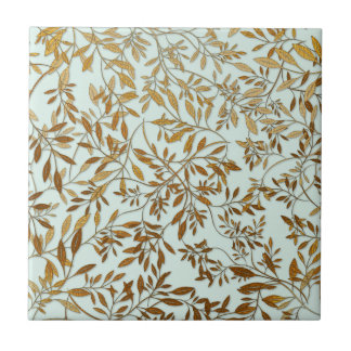 Leaves of Gold 50th Wedding Anniversary Ceramic Tiles