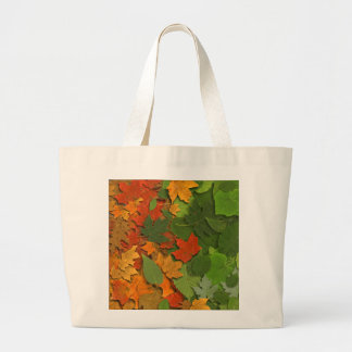 Leaves of red,yellow and green large tote bag