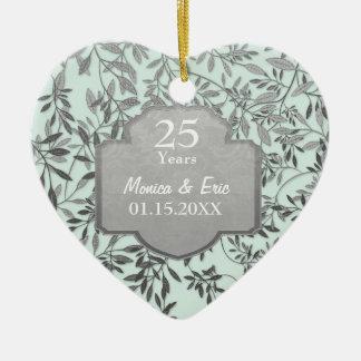 Leaves of Silver 25th Wedding Anniversary Ceramic Ornament