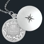 """Leaves of Silver 25th Wedding Anniversary Locket Necklace<br><div class=""""desc"""">Lovely sterling silver 25th Wedding Anniversary necklace with elegant leaves of silver floral border on white background. Silver  grey banner with text says 25 Years.  Lower text area is ready  to be customized by you with names and year information.</div>"""