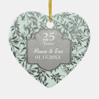 Leaves of Silver 25th Wedding Anniversary Double-Sided Heart Ceramic Christmas Ornament
