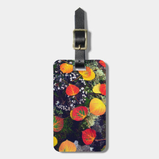 Leaves on a lichen covered rock, Rocky Mountains Luggage Tag
