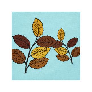 Leaves on blue bottom canvas print