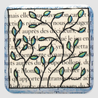Leaves on French Text Square Sticker