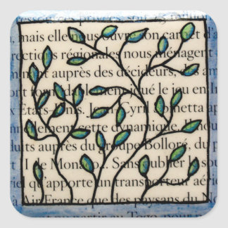 Leaves on French Text Tile Square Sticker