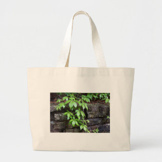 Leaves on Old Stone Wall Large Tote Bag
