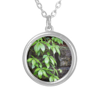 Leaves on Old Stone Wall Round Pendant Necklace