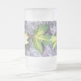 Leaves on Stone Frosted Glass Beer Mug
