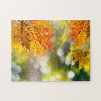 Leaves on the branches in the autumn forest jigsaw puzzle