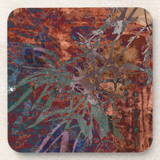 LEAVES ON TORTOISESHELL COASTER