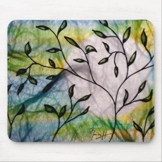 Leaves on Vellum with Watercolor background mousepad