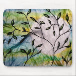 Leaves on Vellum with Watercolor background Mouse Pad
