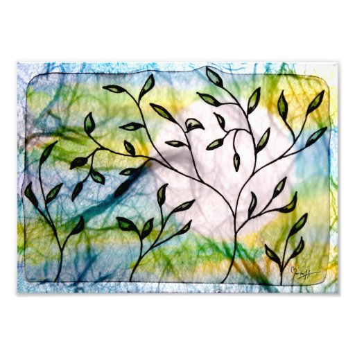 Leaves on Vellum with Watercolors Photographic Print
