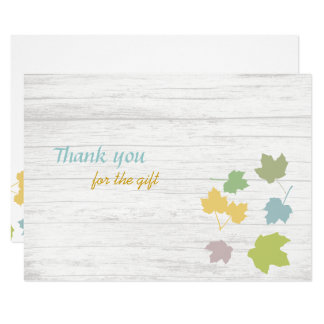 Leaves on Wood Blank Flat Thank You Notes Card