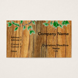 Leaves On Wood Professional Business Cards