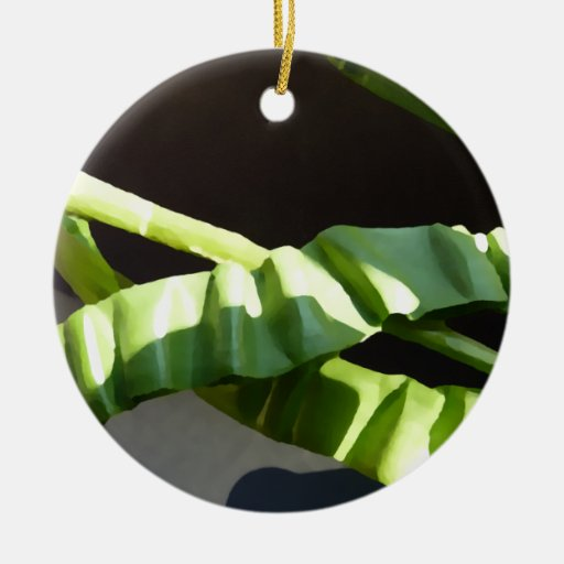 Leaves. Double-Sided Ceramic Round Christmas Ornament