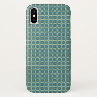 Leaves Pattern in blue iPhone X Case