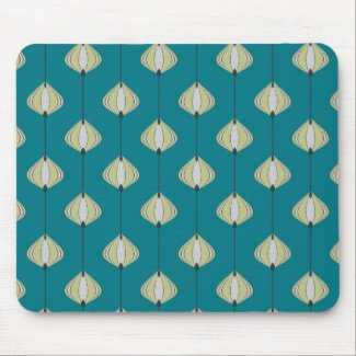 Leaves pattern in blue mouse pad