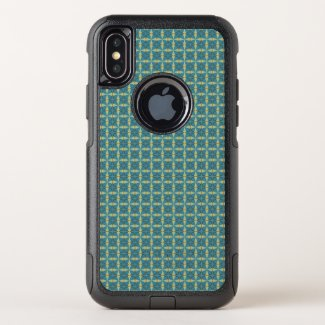 Leaves Pattern in blue OtterBox Commuter iPhone X Case