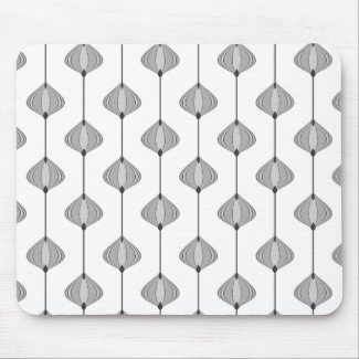 Leaves pattern in grey mouse pad