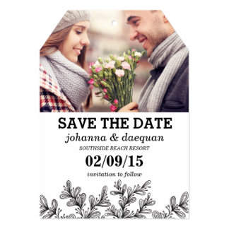 leaves photo save the date 5x7 paper invitation card