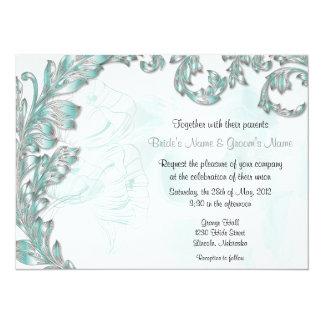 Leaves & Poppies - Aqua & Silver Card