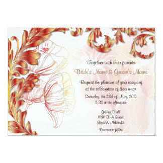 Leaves & Poppies - Deep Red Gold 5.5x7.5 Paper Invitation Card