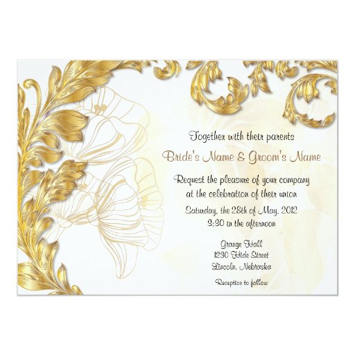 Leaves & Poppies - Gold & White 5.5x7.5 Paper Invitation Card