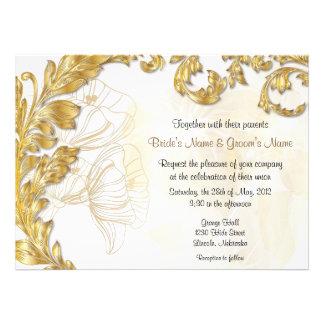 Leaves & Poppies - Gold & White Custom Invitation