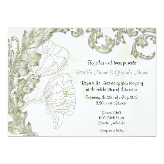 Leaves & Poppies - Sage & Silver Card