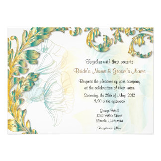 Leaves & Poppies - Teal & Gold Personalized Announcement