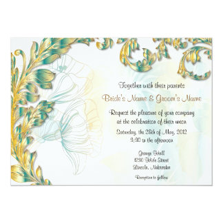Leaves & Poppies - Teal & Gold 5.5x7.5 Paper Invitation Card