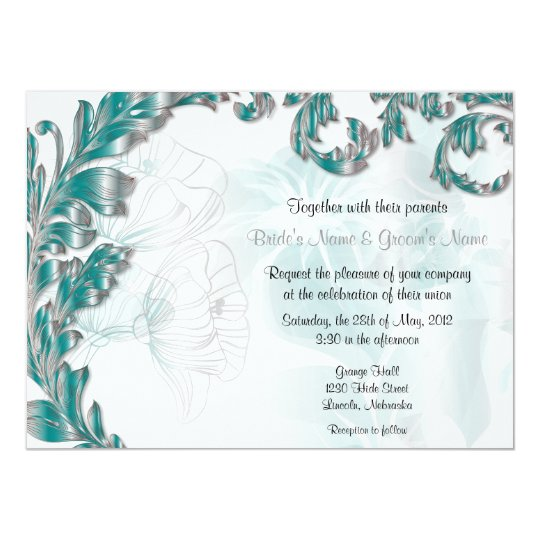 Leaves & Poppies - Teal & Silver Card