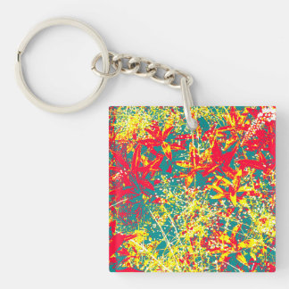 Leaves red green yellow and white keychain