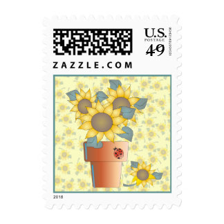 leaves, summer, sun, flowers, sunflower, plant, fl postage stamps