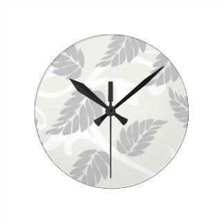 Leaves & Swirls Neutral Round Clock